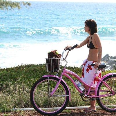 Biking along the coastal path.
