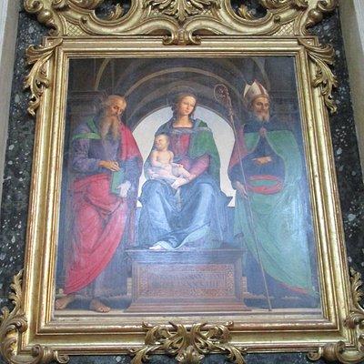 Madonna col Bambino in trono tra i santi Giovanni evangelista e Agostino - dipinto del Perugino
