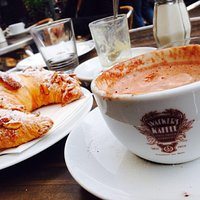 Moka coffe and croissant