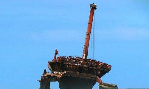 Shipwreck at beginning of beach