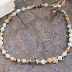 amazonite stone beaded necklace with magnetic clasp