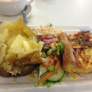 Home made quiche , salad and jacket potato ...scrummy