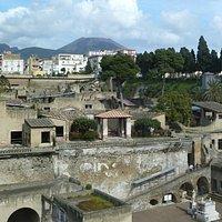 Herculaneum with Vesuvius in the distance.