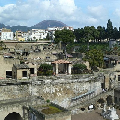 Herculaneum with Vesuvius in the distance.