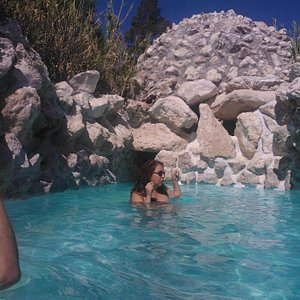 in one of the open pools looking at one coverd w/rocks