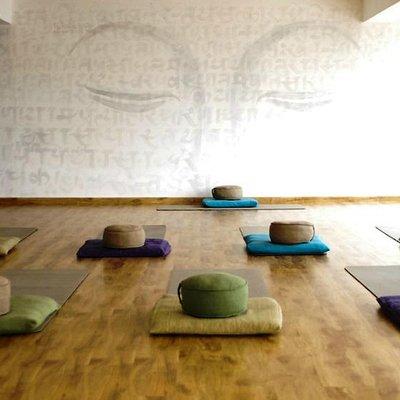 Preparing for class in Pranamaya Yoga Studio, Thamel