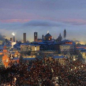 Bergamo Città Alta, vista notturna