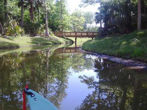 Kayaking under walkways