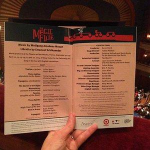 Magic Flute program snapshot taken in Ordway auditorium
