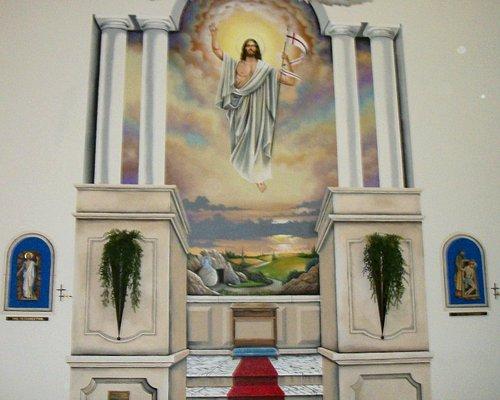 Beautiful Mural inside Santa Maria Del Mar by local artist