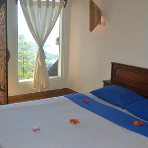 Double Bed with balcony and view