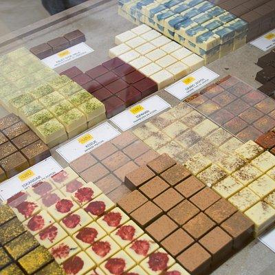 Display of YUZU chocolates