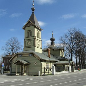 Beautiful but modest St.Simeon´s and St.Anne's Church in April sunshine