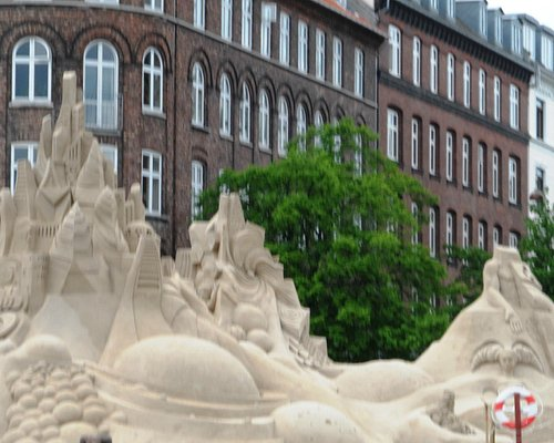 Sand sculptures - view from canal