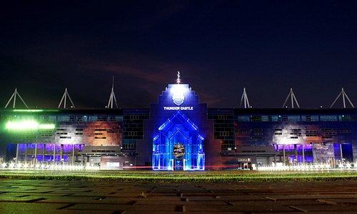 Night view of the stadium.