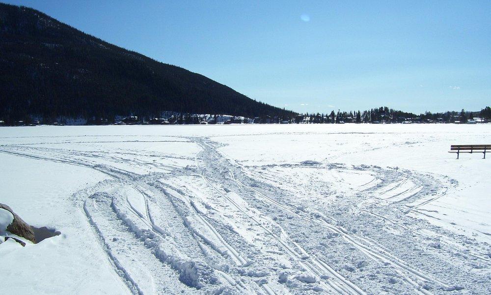 Snow mobile tracks at Grand Lake beach, February 2012