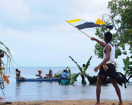 Garifuna people celebrating their arrival to Roatan (Yurumein)