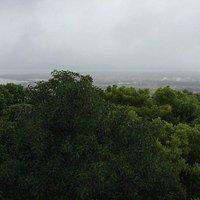 Views of nearby lake during rain