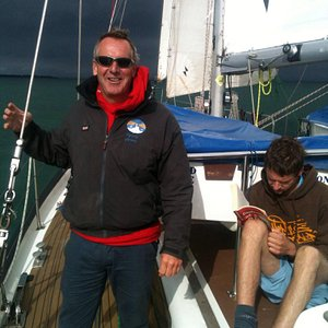 Sailing across the channel to Cherbourg