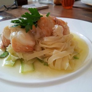 Butter poached lobster with fresh pasta and courgette