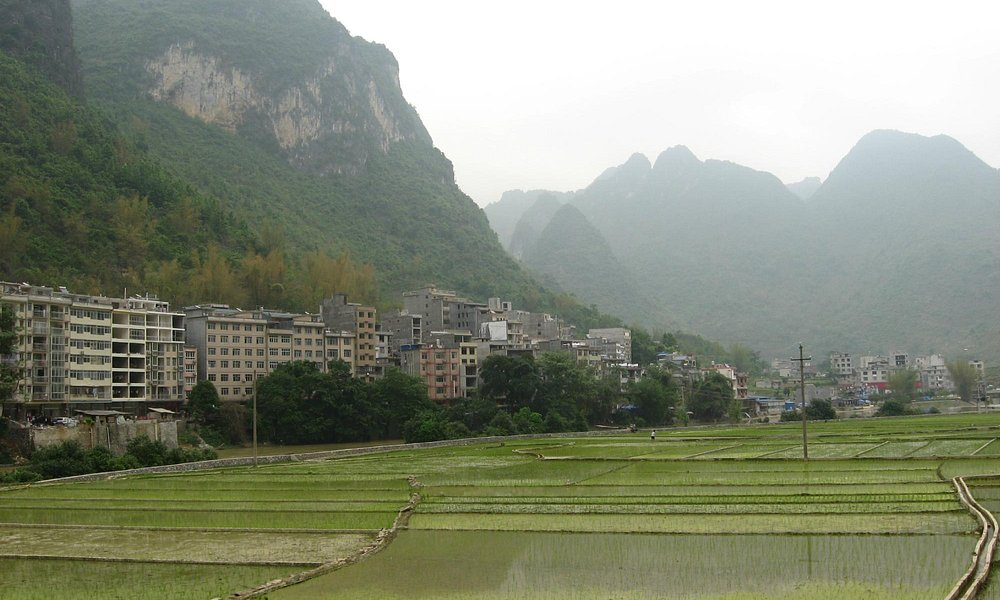 Changshou village surronded with beautiful river and mountain.