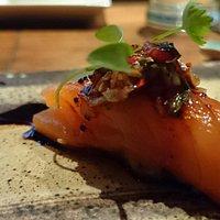 Salmon and caramel soya sauce