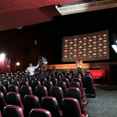 Setting up for the Mouse-X Premiere at the Prince Charles Cinema