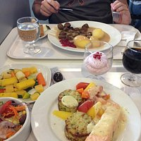 Great food, salmon and Swedish meatballs