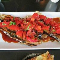 Charred eggplant with tomato
