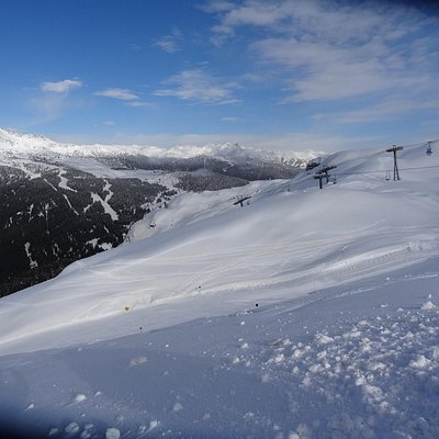 "Winter view towards the North-West from the top station of ""Cabinovia Spinale"""
