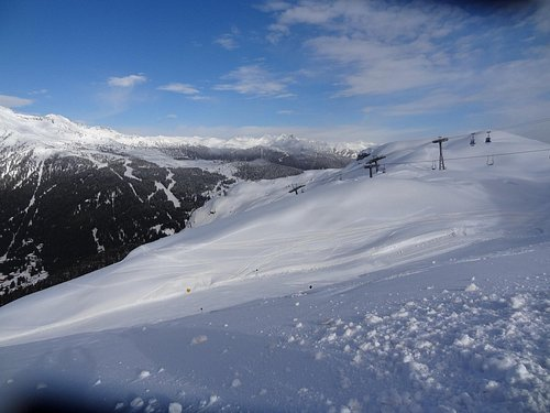 """Winter view towards the North-West from the top station of """"Cabinovia Spinale"""""""
