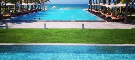 View of the fabulous infinity pool leading to the ocean