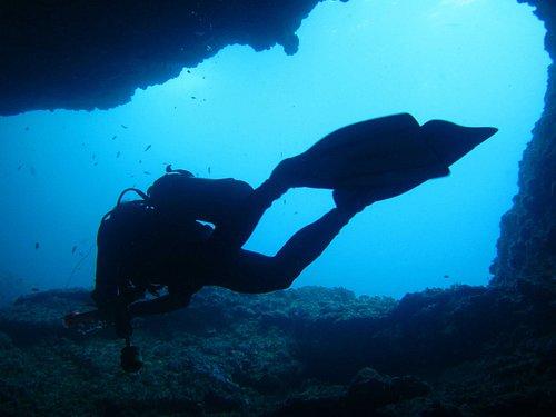 Diver at Helicopter Tunnel, El Nido, Palawan