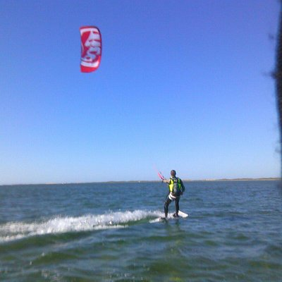 Doug Seiler on his first crossing of the Laguna Madre from the kite ranch