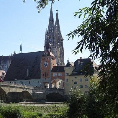 Blick vom Donauufer zum Dom