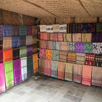 One of the many weaved cloth shops in Sade Traditional Weaving Village