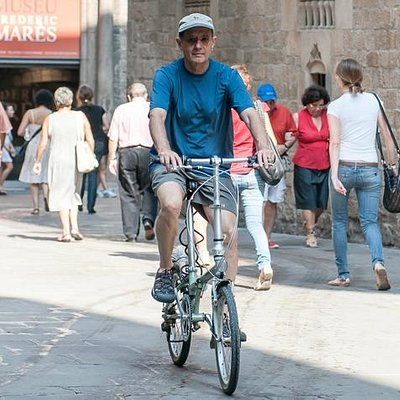 Cruising the Gothic Quarter on one of our high-quality folding bikes.