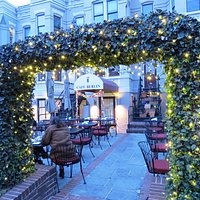 Delightful outdoor courtyard biergarten