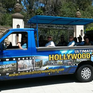 Our van at the gate of the Greystone Mansion