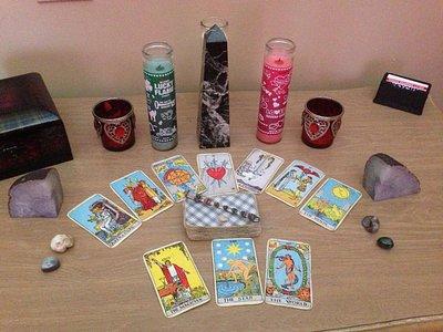tarot cards.  candles  & crystals .