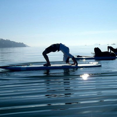 My daughter on her first day of SUP YOGA with Leigh Claxton)))
