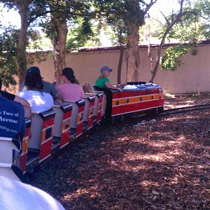 Rounding the bend on the miniature railroad