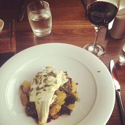 Halibut, chorizo and black pudding, washed down with a Shiraz.... Absolutely delicious!!