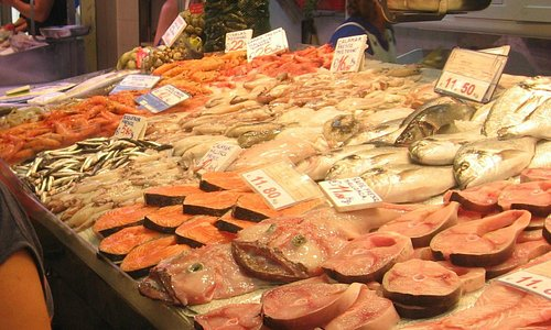 Some of the varied species of fish for sale