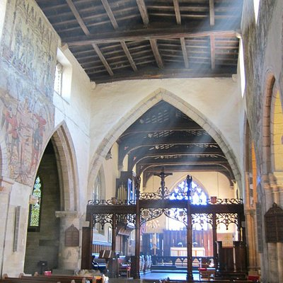 St Peter & St Paul Church, altar, screen & mediaeval wall paintings