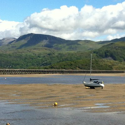 Looking back at the bridge and the Mawddach Estuary from Barmouth
