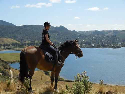 Peggy with Lake Okareka in the background.