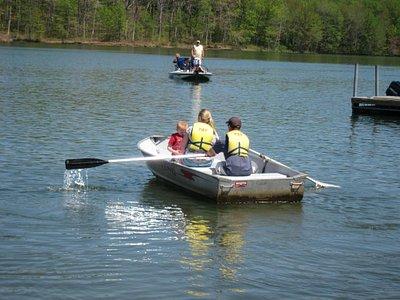 Enjoying  an outing on a rental rowboat at Piney Run Park.