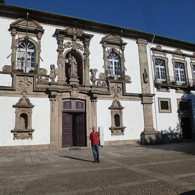Beautiful baroque façade and the statue of St. Clare in Guimarães