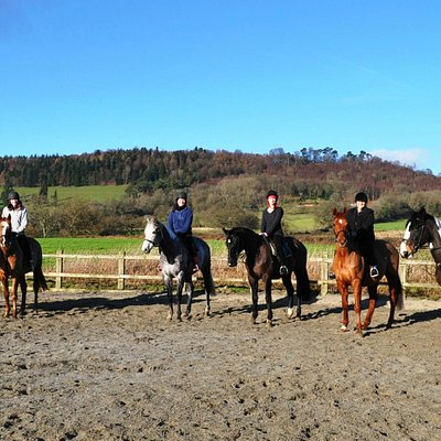 Riders at stables